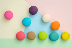 Macaroon. Set of different colorful macaroons on many colors background. Sweet and tasty for cooking and restaurant menu. Top view stock images