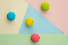 Macaroon. Set of different colorful macaroons on many colors background. Sweet and tasty for cooking and restaurant menu. Top view royalty free stock photo
