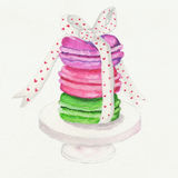 Macaroon. A small pile of macaroon stand with ribbon Stock Image