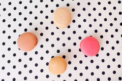 macaroon on spotted fabric Royalty Free Stock Images
