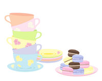 Macaroon tea. An illustration of a stack of fancy cups and saucers with a plate of delicious colorful macaroons isolated on a white background Royalty Free Stock Images