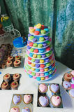 Macaroon tower and cakes Royalty Free Stock Images
