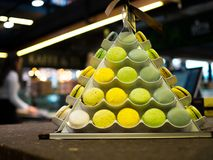 Macaroon tower at dessert store. Close up Royalty Free Stock Photography