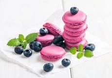 Free Macaroon With Fresh Blueberries Stock Photos - 67193243