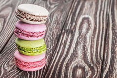 Macaroon on a wooden table Royalty Free Stock Images