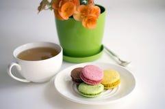Macaroons и чашка чаю печенья Стоковые Изображения