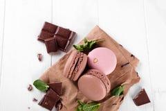 Macaroons с шоколадом Стоковая Фотография RF