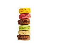 Macaroons. A stack of French macaroons isolated on white Royalty Free Stock Image