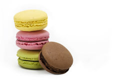 Macaroons. Typical french macaroons biscuits on white background Stock Photography
