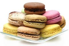 Macaroons. Typical french macaroons biscuits on white background Royalty Free Stock Photography