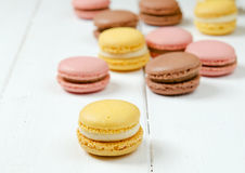 Macaroons. Colorful macaroons on the white board Stock Image