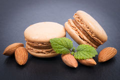 Macaroons with almonds Royalty Free Stock Photo