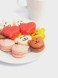 Macaroons animal and heart shape Royalty Free Stock Photography