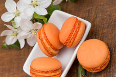 Macaroons - apricot macaroons Royalty Free Stock Image