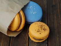 Macaroons in a backery paper bag Royalty Free Stock Image