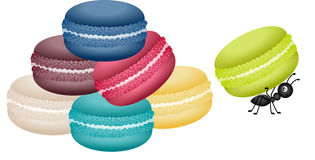 Macaroons being carried by a ant. Scalable vectorial image representing a macaroons being carried by a ant, isolated on white Stock Photography