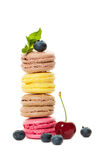 Macaroons with Berries and Mint Stock Photo