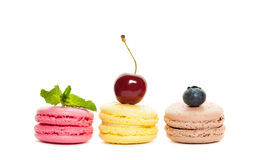 Macaroons and Berry on White Royalty Free Stock Photos