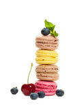 Macaroons and Berry on White Stock Images
