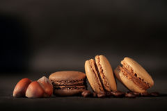 Macaroons. On black background Stock Photo