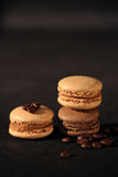 Macaroons. On black background royalty free stock photo
