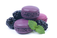 Macaroons with blackberries Royalty Free Stock Image