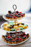 Macaroons and blueberry tarts Stock Photography