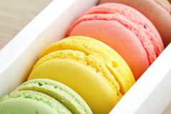 Macaroons in box Stock Images