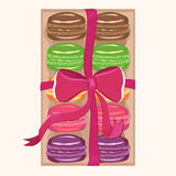 Macaroons in a box. Colorful macaroons packed  in a box tied up with ribbon Stock Photos
