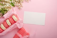 Macaroons in a box on a light pink background with a gift, flatlays, with an empty space for an inscription or congratulations on. A holiday, a woman or a girl royalty free stock photography