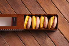 Macaroons cakes in box Royalty Free Stock Photo