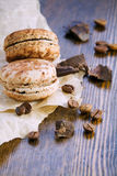 Macaroons with chocolate Stock Images