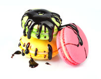 Macaroons with chocolate stock photography