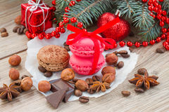 Macaroons with christmas tree Stock Photos