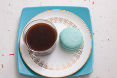 Macaroons and coffee. The perfect snack of macaroons with a shot of coffee stock images
