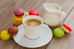 Macaroons and coffee cup Stock Photo