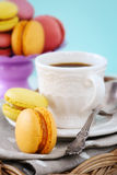 Macaroons with coffee Stock Photography