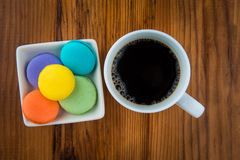Macaroons and coffee Royalty Free Stock Images