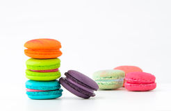 Macaroons. Colorful macaroons on white background. Macaroon is sweet dessert Stock Images