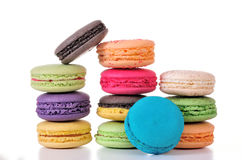Macaroons. Colourful Macaroons, the delicious dessert stock photo
