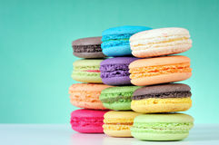 Macaroons. Colourful Macaroons, the delicious dessert royalty free stock image