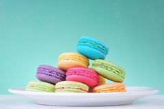 Macaroons. Colourful Macaroons, the delicious dessert stock photos