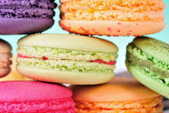 Macaroons. Colourful Macaroons, the delicious dessert stock image