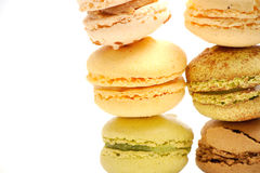 Macaroons composition on a white background. A macaroons composition on a white background royalty free stock photos