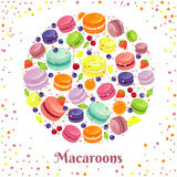 Macaroons cookies round label Royalty Free Stock Images
