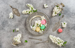 Macaroons. Creative food background Vintage flat lay Royalty Free Stock Images