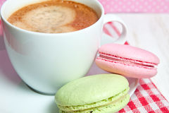 Macaroons and cup of coffee Royalty Free Stock Image