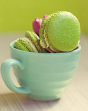 Macaroons in cup on wooden table Royalty Free Stock Photography