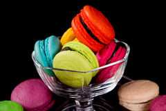 Macaroons on dark black background Royalty Free Stock Image