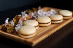 Macaroons decorated with flowers Stock Images